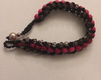 Hot Pink & Black Sparkle Tennis Bracelet