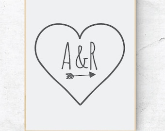 Initial print, Personalised couples print, Wall art with initial, Love heart with initials print
