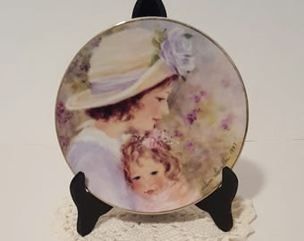 "Vintage Avon Collectors Plate, ""Tender Moments"" 1997 Mother's Day Plate by Helene Leveillee Porcelain 22K Gold Trim, Collectible Plate Gifts"