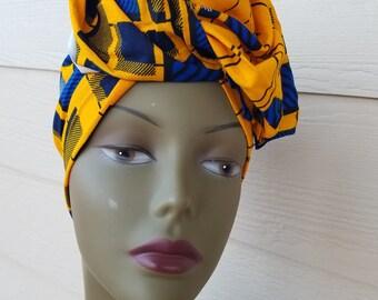 Yellow Headwrap; Yellow African Headwrap; African Clothing; African Fabric Headwrap; African Scarf; Fabric Headwrap: Headwrap; Head tie