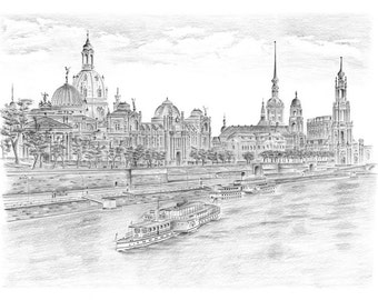 Views of the historic old town of Dresden - original signed art print