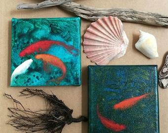 Mini cuadritos de peces / Mini quadri di pesci rossi / mini goldfish paintings/  olio e acrilico su tela 10x10cm / 85 euros each/cadauno