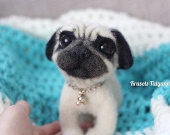 Needle felted Pug dog,needle felt dog,Felted dog,wool figurine dog, needle felted animal,felt toy,soft sculpture dog,handmade toy,home decor