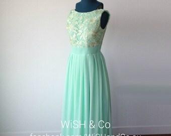 CLEARANCE 40% OFF - Brand New Cream Lace Bodice Mint Floor Length Bridesmaid Dress - Bateau Neckline Sleeveless Long A-Line