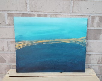 Aqua teal gold, original painting, shimmer, 11 x 14, canvas, abstract, acrylic art