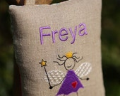 Tooth Fairy pillow fairy with purple dress, Personalized  Pillow, Custom pillow, Baby shower gift, Keepsake