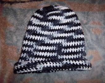 Zebra crochet Slouchy/messy bun hat - Adult size