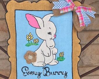 Bunny Burlap Door Hanger - Easter Door Decoration - Spring Door Hanger - Front Door Decor