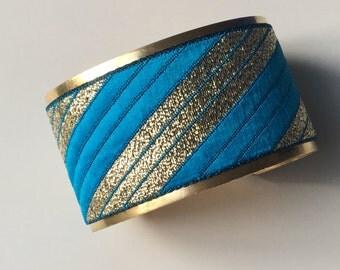"""""""Oblique"""" Golden Cuff Bracelet - """"blue gold"""""""