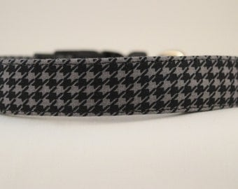 Gray and Black Houndstooth Dog Collar