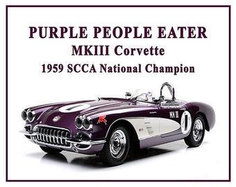 Purple People Eater, Corvette, 1959 Corvette, Stingray, Corvette Art, Corvette Gifts, Poster, Print, Muscle Car, 8x10, 11x14, 16x20 JS0968