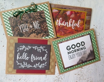 handmade woodsy stationery / notes / blank cards / stationery / encouraging messages / just because stationery / simple notes / rustic