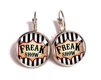 Circus aesthetic, carnival gothic, freak show, grunge shabby, message earrings, vintage shabby, goth soul, freak weirdo, quote jewelry