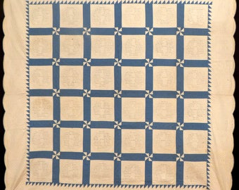 Antique Quilt,  Blue & White Signature or Fundraiser Quilt. Dated 1929, MINT