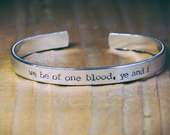We Be Of One Blood, Ye And I / Literary Gift / Family Gift / Sibling Gift / Romantic Jewelry / Literary Jewelry / The Jungle Book Bracelet