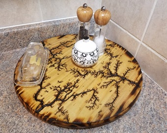 """Wooden Lazy Susan, Lichtenberg Figures, Lazy Susan Turntable, 18"""" Lazy Susan With Fractal Images Burned, Kitchen Table Centerpiece, Tray"""