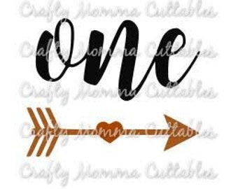 ONE SVG file // First Birthday Svg // 1st birthday Cut File // Arrow One Silhouette File // Cutting File // SVG file