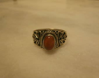 925 Sterling silver ring with carnelian stone