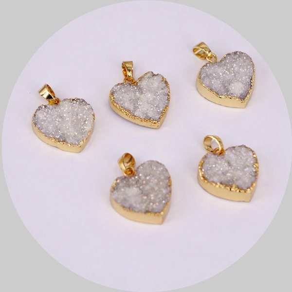 5pcs Natural White Quartz Druzy Pendants Heart Quartz