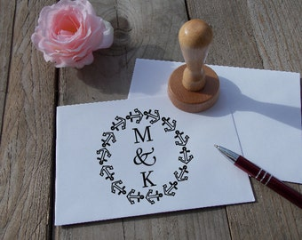 Wedding stamp with initials; Decorated; Personalized; Wedding; Stamp; Punch rubber
