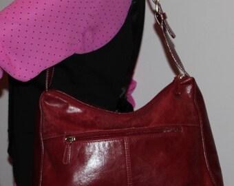 Vintage 90s  Red Leather Aurielle Shoulder Bag Medium