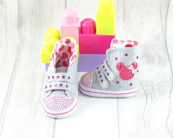Baby Girl Shoes Soft Sole Pink Gray Mickey Mouse 3-6 months