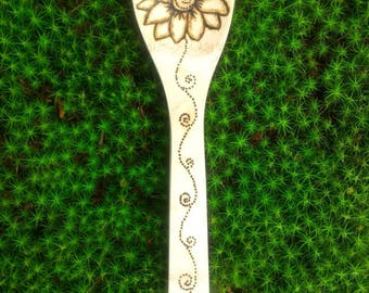 Wood Burned Hand Sketched Flower Bamboo Spoon