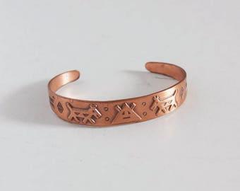 Vintage 70s Native American copper girl's bracelet