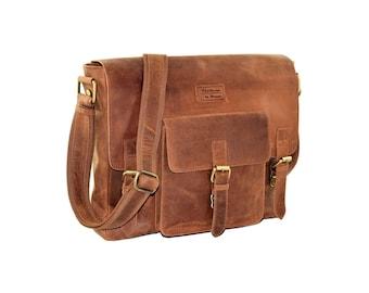 Shoulder bag, Messenger bag, business bag teacher, roll-over bag, laptop bag, Briefcase, genuine leather, Menzo, cross body bag