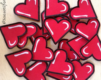 Apply patches embroidered red heart size of preference are manufacturers