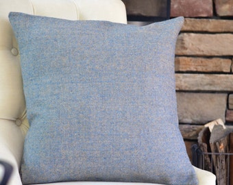 Blue Grey Wool Pillow Cover
