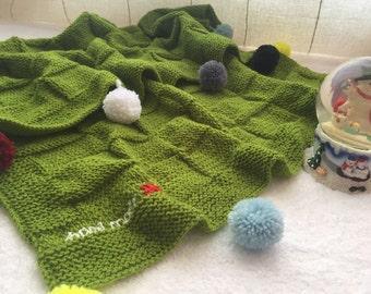 Point blanket baby, green, PomPoms, baby blanket
