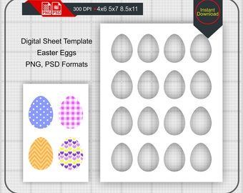 "Easter Eggs Templates on 4""x6"", 5""x7"", 8.5""x11"" Sheets, Photoshop Template, PNG, PSD, Photo Collage"