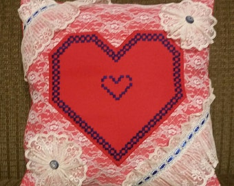 Free Shipping - Handcraft Red & Blue Pillow