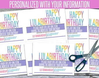 Personalized Birthday Cards! - We add your info, You PRINT! - LLRBD02