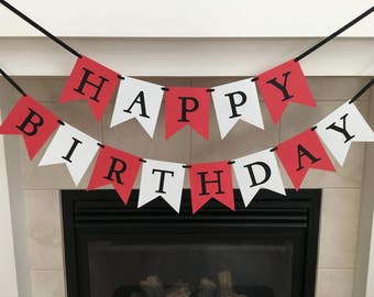 Happy Birthday Banner, Red and White Birthday Banner, Girl or Boy Birthday Decoration, Photo Prop