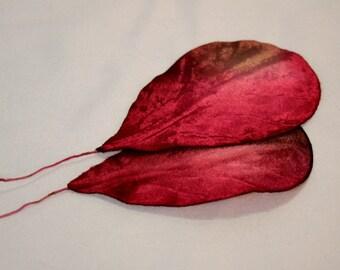 Velvet Leaves Vintage 50s,Antique fuchsia velvet leaves,Velvet garnish millinery,milliner,hatter,sewer,antique haberdashery velvet leaf