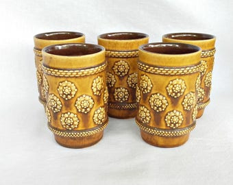 MARZI & REMY Vintage German Set of 5 Ceramic glasses, Mags