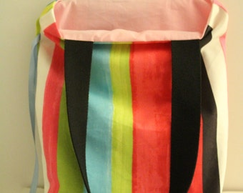 Foldable bag with the colorful stripes Tote