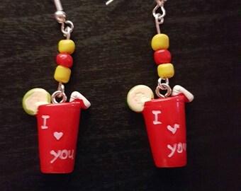 I love you soda novelty earrings