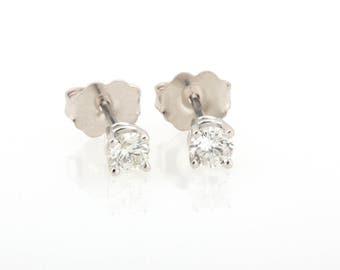 New 0.26 CTW Sparkling Diamond Solitaire Ladies Stud Earrings