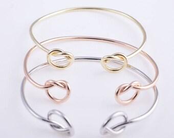 Knot bracelet, bridesmaid bracelet, tie the knot bracelet,double knot bracelet,love knot bracelet,63*60MM
