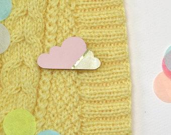 Cloud brooch pink/gold