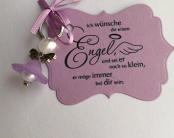 Angel pendant with map / guardian angel purple