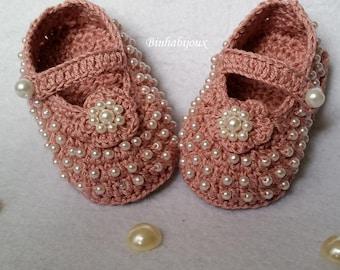beaded crochet booties