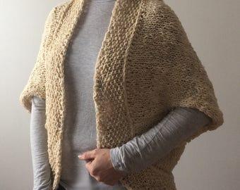 Hand-knit Wool Blanket Shrug - women, girls