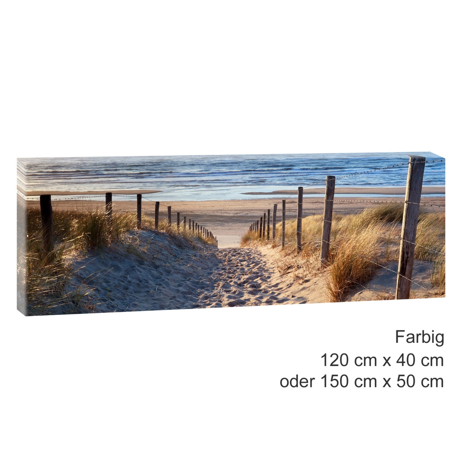weg zum strand bild strand meer keilrahmen leinwand poster xxl. Black Bedroom Furniture Sets. Home Design Ideas