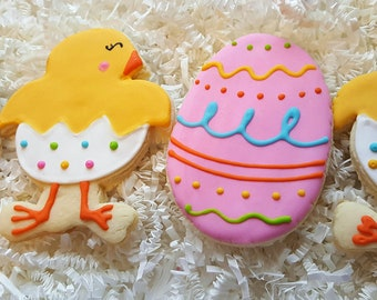 Easter Cookies Chick Egg Cookies one dozen Party Favors