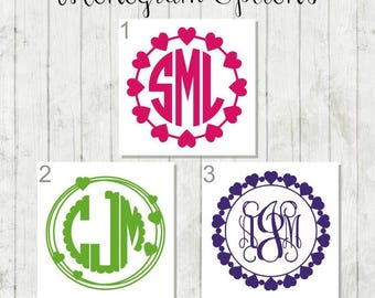Heart Monogram Decal - Heart Monogram Frame - Custom Heart Decal - Birthday Gift for Teen - Heart Monogram Car Decal - Personalized Monogram