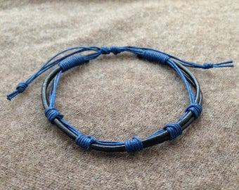 mens black blue Handmade Leather adjustable bracelet